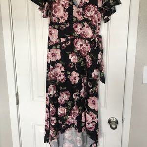 Black and Pink Floral Maxi Dress
